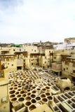 Curtiduría en Fes, Marruecos Imágenes de archivo libres de regalías