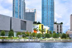 Curtis Hixon Park Downtown Tampa. Photo of Curtis Hixon Park in downtown Tampa taken over the Hillsborough River. Includes the Tampa Museum of Art, the Glazer Royalty Free Stock Image
