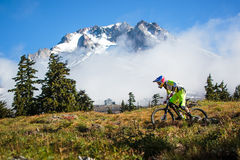 Curtis Keene and Mt. Hood. Pro enduro mountain bike racer Curtis Keene rides in front of Mt. Hood during the 2013 Oregon Enduro series finals stock images
