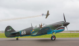 Curtiss P-40 Kittyhawk. Taxing on the runway on the annual AIR FIESTA, BROWNSVILLE TX stock photography