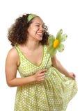 Curtsy del resorte con una flor Imagen de archivo libre de regalías