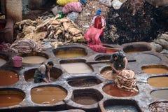 Curtume velho no fez, Marrocos Fotografia de Stock