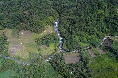 Aerial view of Curug Nangga waterfalls located in Bogor town, West Java, Indonesia. Curug Nangga waterfalls located in Bogor town, West Java, Indonesia Stock Image