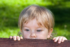 A curuos little boy hiding behind a bench Stock Image