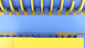 Curva Alliance Movimiento de ejes 3d azul y amarillo