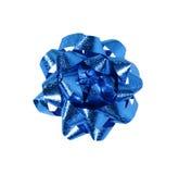 Curva azul do envoltório de presente Imagens de Stock