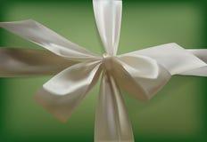 Curva branca em um fundo verde Curva realística da fita vintage Fundo do vetor Imagem de Stock Royalty Free