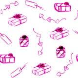 Curva colorida, etiquetas cor-de-rosa, caixa de presente violeta, coração do esboço Teste padrão sem emenda da aquarela ilustração do vetor