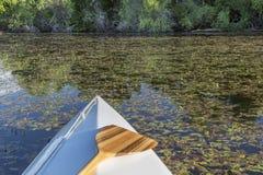 Curva da canoa com pá Imagens de Stock