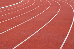 Curva da pista de atletismo do estádio do atletismo Imagem de Stock