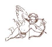 Curva da terra arrendada do cupido do voo e mão apontando ou de tiro da seta tiradas com linhas de contorno no fundo branco Deus  ilustração royalty free