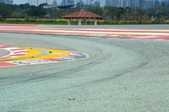 Curva da trilha da fórmula 1 em Singapura fotos de stock royalty free