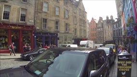 Curva de Edimburgo e mercado ocidentais da grama, na cidade velha, Edimburgo, Escócia filme