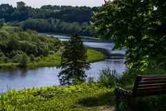 Curva de Nemunas de la colina de Vytautas Foto de archivo