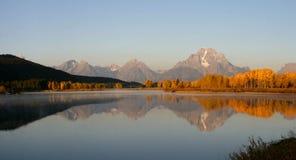 Curva de Oxbow en panorama del otoño Imagen de archivo libre de regalías