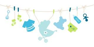 Curva de suspensão do menino dos ícones do bebê azul e verde ilustração royalty free