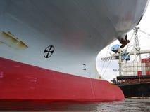 Curva de um recipiente-navio vazio Foto de Stock Royalty Free