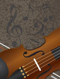Curva de violino com fundo Illuustration das notas musicais Imagens de Stock Royalty Free
