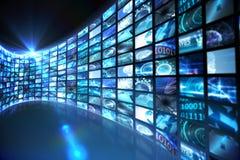 Curva degli schermi digitali in blu