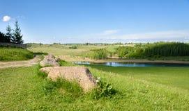 Curva del camino en las colinas verdes medias Imagen de archivo