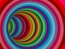 Curva del extremo de la cueva del túnel del color del arco iris Fotografía de archivo