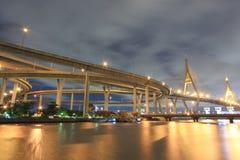 Curva del ponte sospeso Immagini Stock Libere da Diritti