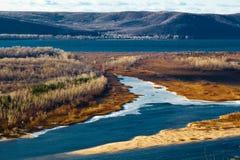 Curva del río de Volga cerca del Samara Fotografía de archivo libre de regalías