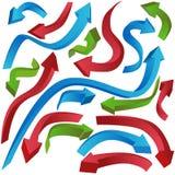 Curva delle frecce 3D Immagini Stock Libere da Diritti