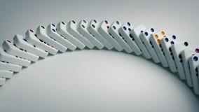 A curva dos dominós cai tiro abaixando vídeos de arquivo