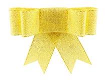 Curva dourada bonita do presente de brocado Foto de Stock