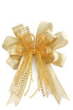 Curva dourada brilhante do Natal isolada no branco Fotos de Stock