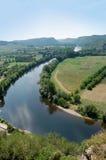 Curva en el Dordogne de la charla Foto de archivo libre de regalías