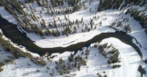 Curva grande en un río en invierno con un bosque y una nieve en la tierra almacen de metraje de vídeo