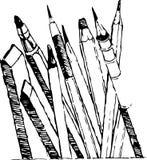 Curva los diversos lápices para el artista stock de ilustración