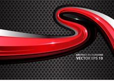 Curva roja abstracta en vector gris de la malla del círculo del metal Foto de archivo libre de regalías