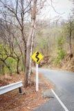 Curva stradale con il segnale di pericolo Fotografia Stock Libera da Diritti