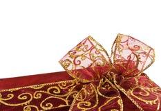 Curva vermelha brilhante da caixa de presente Imagem de Stock