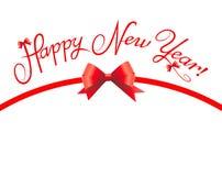 Curva vermelha do ano novo feliz Fotografia de Stock Royalty Free