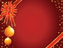 Curva vermelha do Natal com brinquedos Imagem de Stock