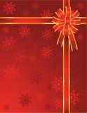 Curva vermelha do Natal com flocos de neve Imagem de Stock Royalty Free