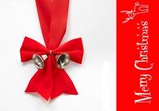 Curva vermelha do Natal com sino Fotografia de Stock