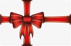 Curva vermelha do presente com fitas Imagem de Stock