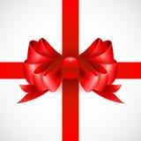 Curva vermelha em uma fita para um presente Vetor Imagem de Stock