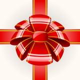 Curva vermelha grande com fita Fotografia de Stock Royalty Free