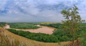 Curva y árbol del río Fotos de archivo