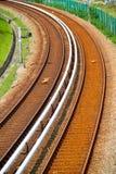Curvar la pista del tren eléctrico Imágenes de archivo libres de regalías