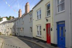 Curvas de la calle en Fowey, Cornualles Imagen de archivo libre de regalías