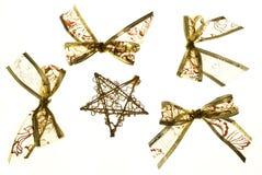 Curvas e estrela do ouro do Natal Fotografia de Stock