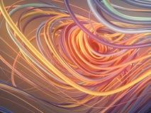 Curvas vermelhas e alaranjadas abstratas de entrelaçamento rendição 3d Imagens de Stock Royalty Free
