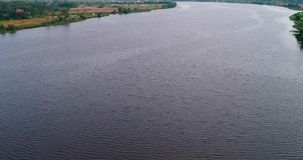 Curvatura da opinião aérea do Rio Volga do quadcopter do voo sobre a floresta vídeos de arquivo